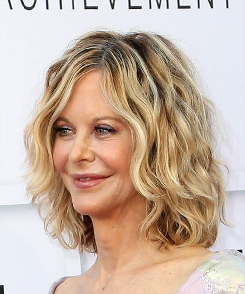 Meg Ryan Medium Wavy Casual  Bob  Hairstyle   - Light Blonde Hair Color - Side View
