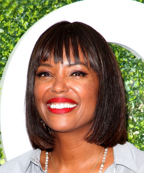 Aisha Tyler Medium Straight Formal Bob  Hairstyle with Blunt Cut Bangs  - Dark Brunette - Side View