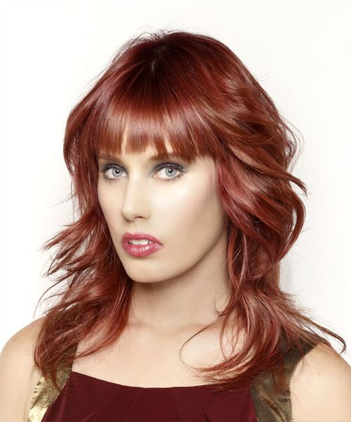 Long Wavy Casual    Hairstyle with Blunt Cut Bangs  - Dark Red Hair Color - Side View