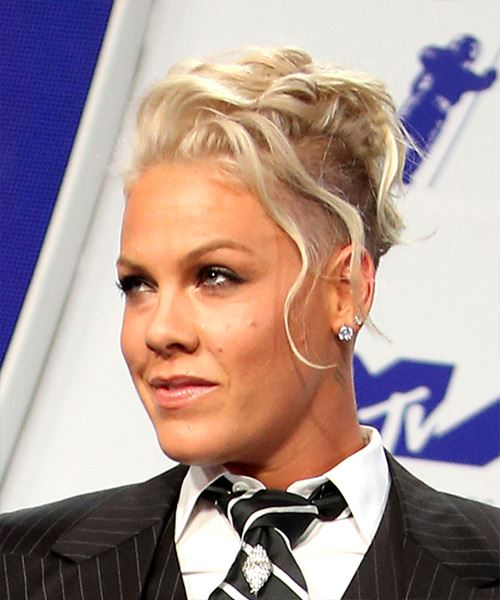 Pink Short Wavy Alternative  Mohawk  Hairstyle   - Light Platinum Blonde Hair Color - Side View