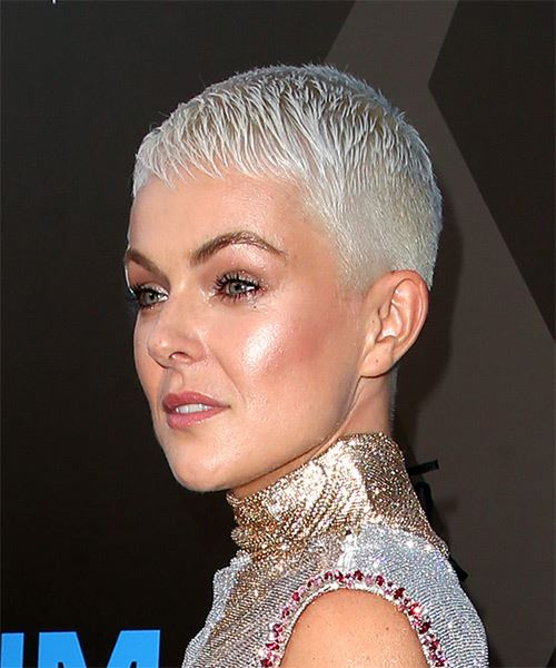 Serinda Swan     Light Platinum Blonde Pixie  Cut with Layered Bangs  - Side View