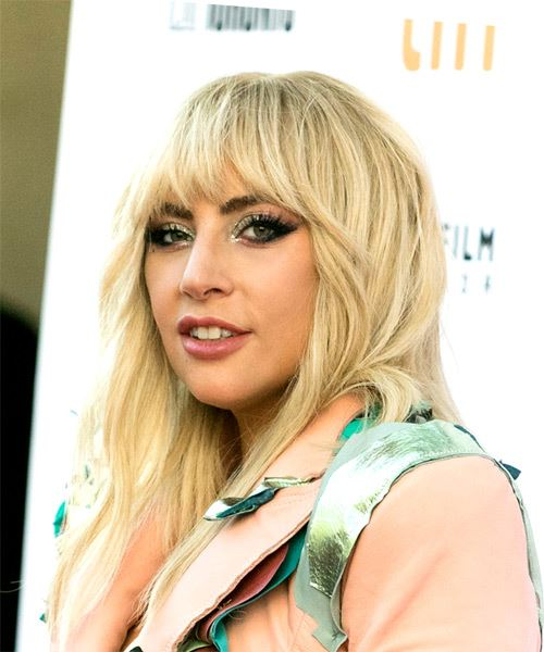 Lady Gaga Long Wavy   Light Champagne Blonde   Hairstyle with Blunt Cut Bangs  - Side View