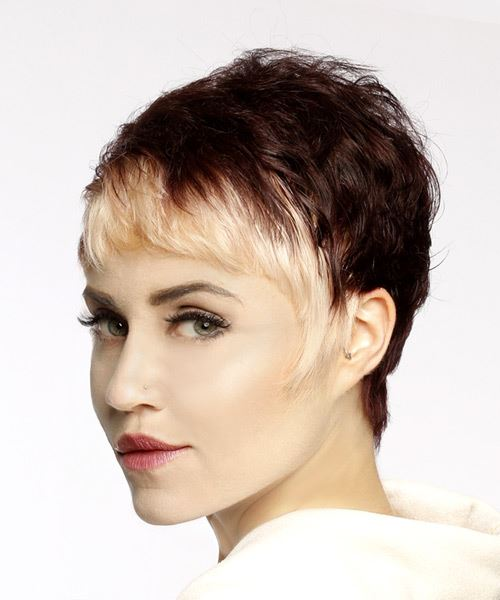 Light Blonde and Mahogany Two-Tone Pixie  Cut with Asymmetrical Bangs  - Side View