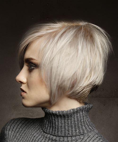 Short Straight   Light Platinum Blonde Shag  Hairstyle with Side Swept Bangs  - Side View
