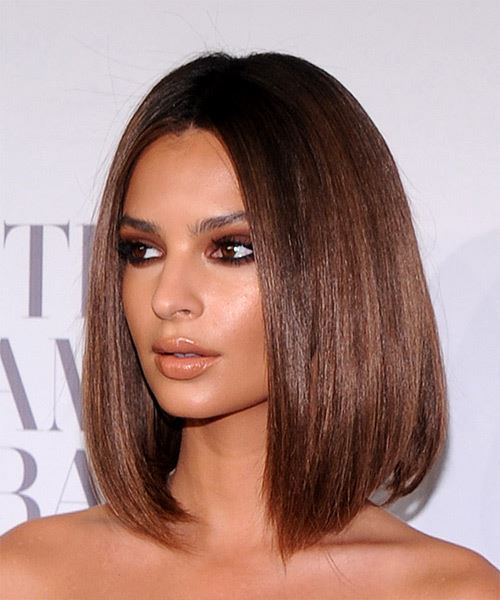 Emily Ratajkowski Medium Straight    Chestnut Brunette Bob  Haircut   - Side View