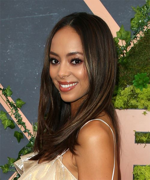 Amber Stevens Long Straight Casual   Hairstyle   - Dark Brunette - Side View