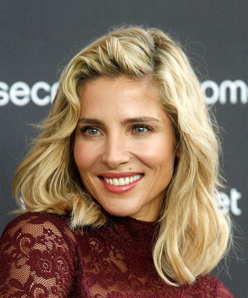 Elsa Pataky Medium Wavy Casual Bob  Hairstyle with Side Swept Bangs  - Light Blonde - Side View
