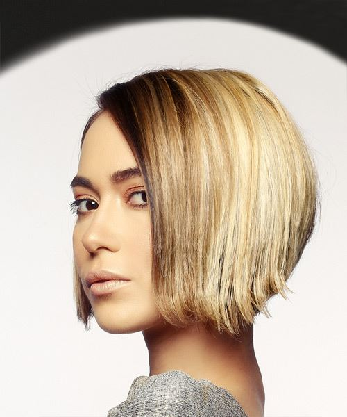 Short Straight Casual Bob  Hairstyle   - Dark Blonde - Side View