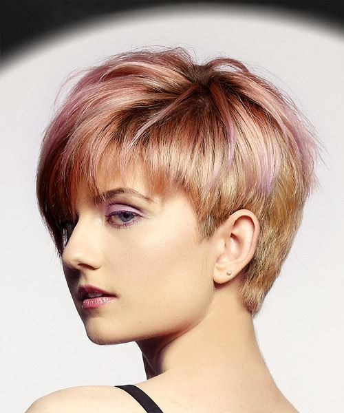 Short Straight Alternative  Pixie  Hairstyle with Layered Bangs  - Pink  Hair Color with  Red Highlights - Side View