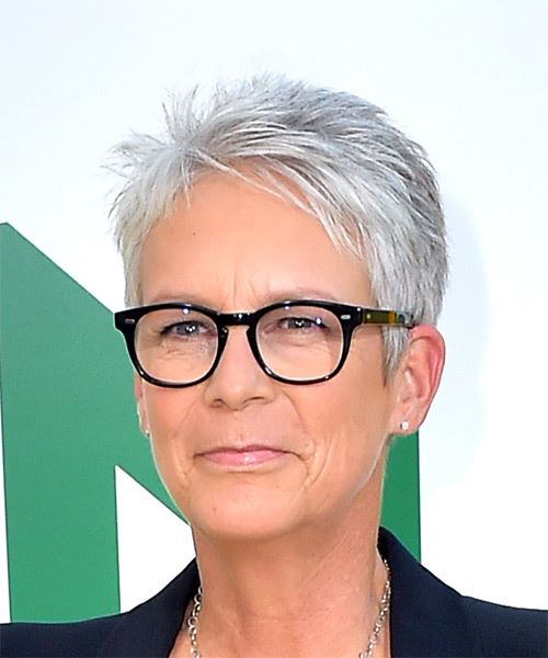 Jamie Lee Curtis     Light Grey Pixie  Cut with Layered Bangs  - Side View