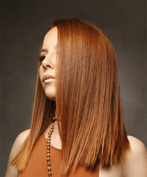 Long Straight Formal   Hairstyle   - Medium Red - Side View