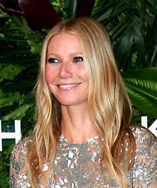 Gwyneth Paltrow Long Wavy   Light Champagne Blonde   Hairstyle   - Side View