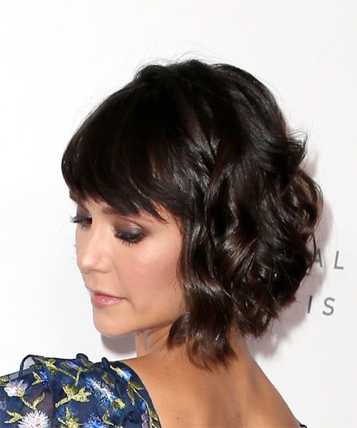 Nina Dobrev Short Wavy Casual Bob  Hairstyle with Side Swept Bangs  - Dark Brunette - Side View