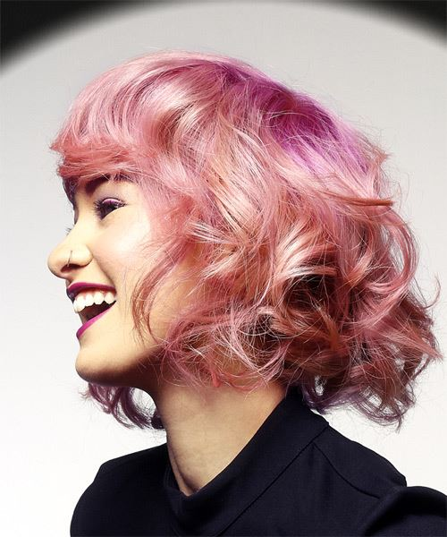 Short Wavy Casual  Bob  Hairstyle with Layered Bangs  - Pink  Hair Color - Side View