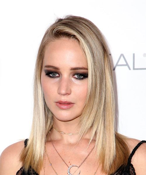Jennifer Lawrence Medium Straight Casual    Hairstyle   - Light Blonde Hair Color - Side View