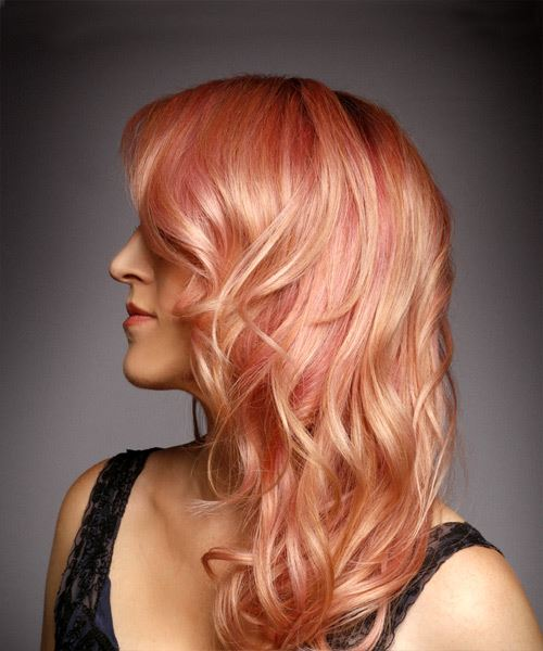 Medium Wavy Formal    Hairstyle with Side Swept Bangs  - Pink  Hair Color - Side View