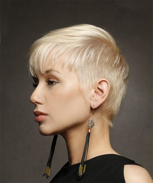 Light Blonde Pixie  Cut with Layered Bangs  - Side View