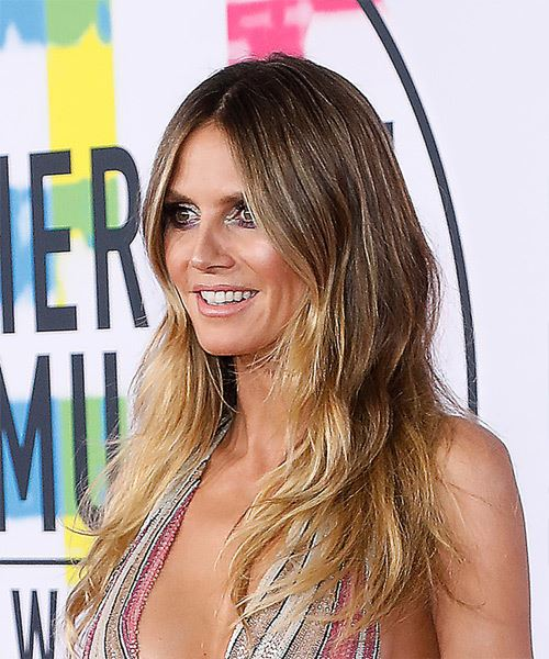 Heidi Klum Long Wavy Casual   Hairstyle   - Medium Blonde - Side View