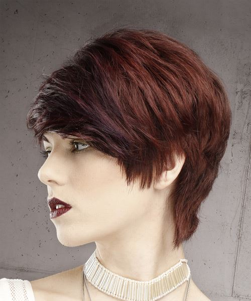 Dark Red Pixie  Cut with Side Swept Bangs  - Side View