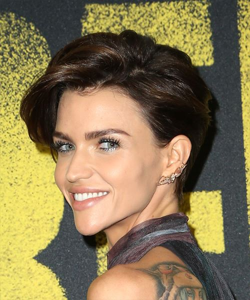 Ruby Rose     Dark Brunette Pixie  Cut with Side Swept Bangs  - Side View