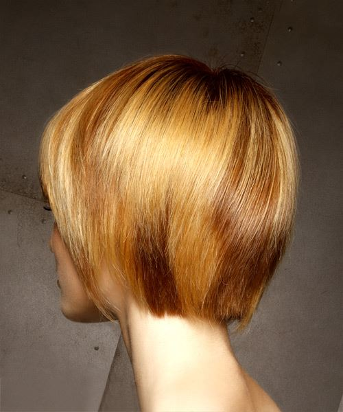 Short Straight Casual Bob  Hairstyle with Layered Bangs  - Light Red - Side View