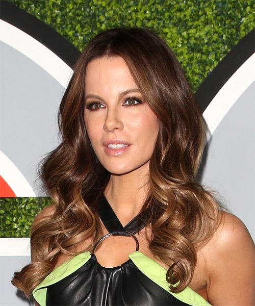 Kate Beckinsale Long Wavy    Brunette   Hairstyle   - Side View