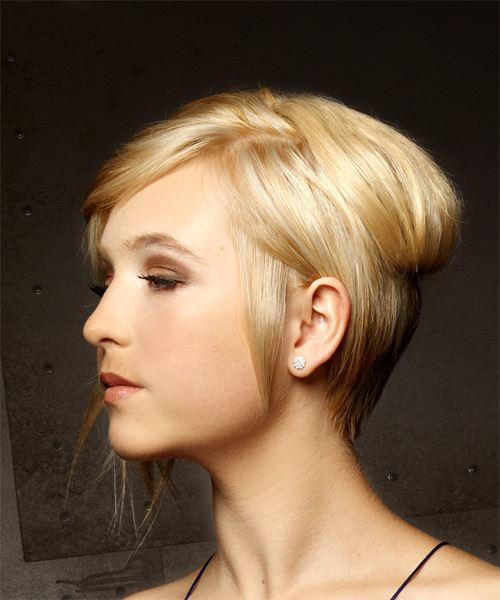 Short Straight Casual  Shag  Hairstyle with Side Swept Bangs  - Light Golden Blonde Hair Color - Side View