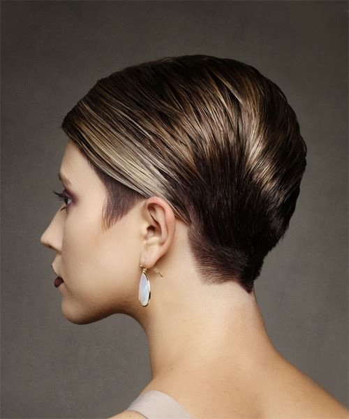 Short Straight Formal  Pixie  Hairstyle with Side Swept Bangs  -  Brunette Hair Color - Side View