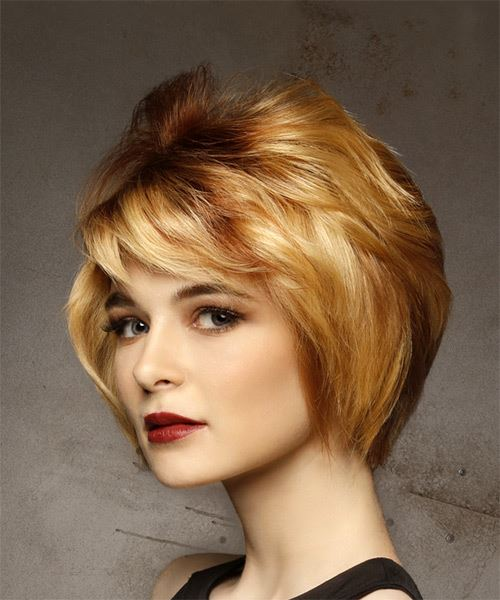 Short Straight Casual    Hairstyle with Side Swept Bangs  - Light Red and Medium Blonde Two-Tone Hair Color - Side View
