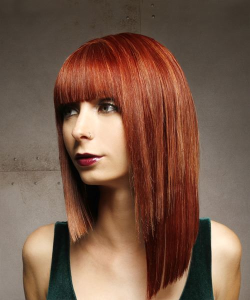 Medium Straight Formal Asymmetrical  Hairstyle with Blunt Cut Bangs  - Medium Red - Side View