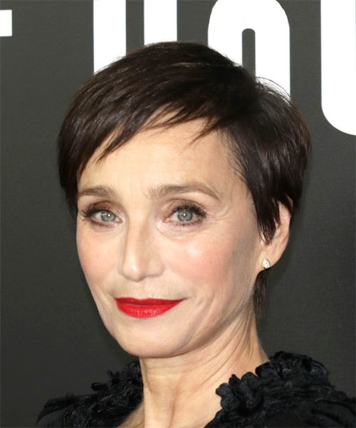 Kristin Scott Thomas Short Straight Casual Pixie  Hairstyle with Razor Cut Bangs  - Dark Brunette - Side View