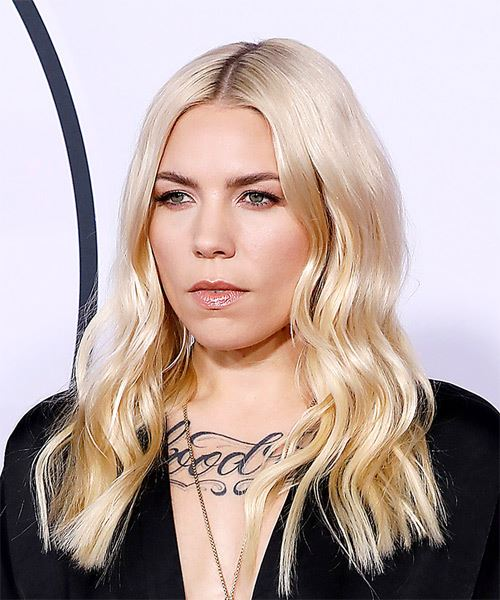 Skylar Grey Long Wavy Casual   Hairstyle   - Light Blonde - Side View