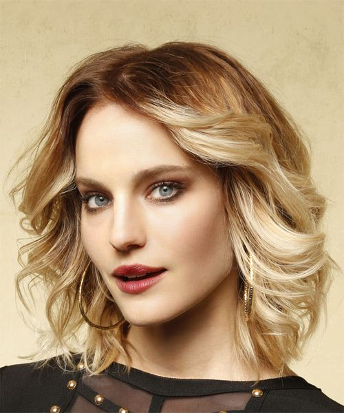 Medium Wavy Casual Bob Hairstyle   Blonde Hair Color   Side View