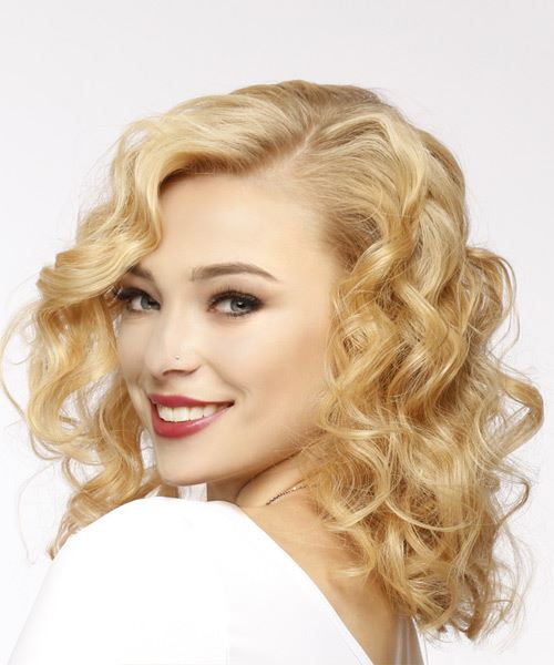 Medium Curly Casual    Hairstyle   - Light Golden Blonde Hair Color - Side View