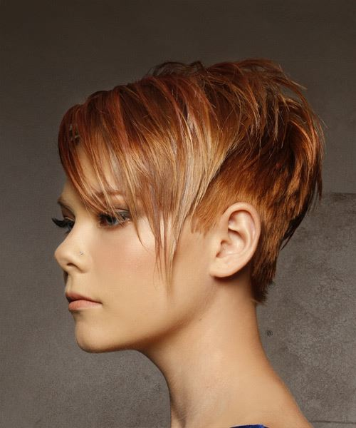 Short Straight Casual  Pixie  Hairstyle with Side Swept Bangs  -  Red Hair Color with Light Blonde Highlights - Side View