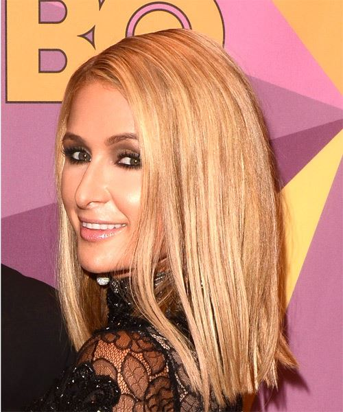 Paris Hilton Medium Straight Formal Bob  Hairstyle   - Light Blonde - Side View