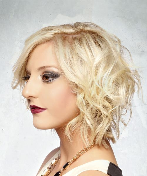 Short Wavy Formal  Bob  Hairstyle   - Light Blonde Hair Color - Side View