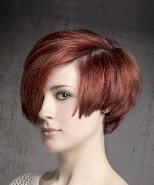 Short Straight Casual    Hairstyle with Side Swept Bangs  - Medium Red Hair Color - Side View