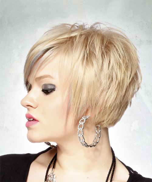 Short Straight Casual Pixie  Hairstyle with Side Swept Bangs  - Light Blonde - Side View
