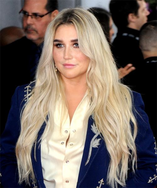 Kesha Long Wavy Casual    Hairstyle   - Light Ash Blonde Hair Color - Side View