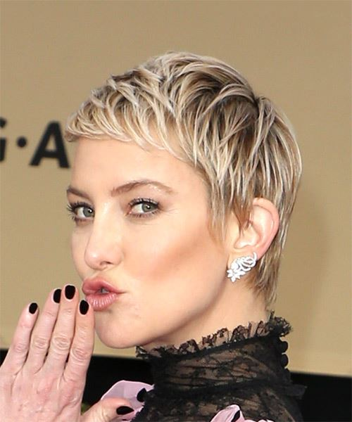 Kate Hudson Short Straight Casual  Pixie  Hairstyle with Razor Cut Bangs  - Light Ash Blonde Hair Color - Side View