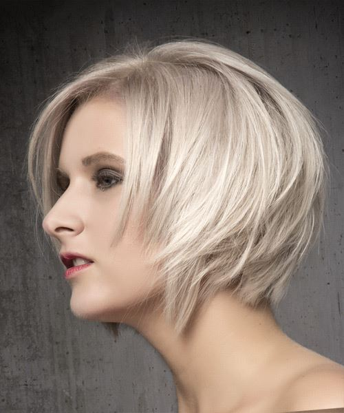Short Straight Formal Bob  Hairstyle with Side Swept Bangs  - Light Blonde (Ash) - Side View