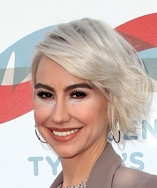 Chelsea Kane Short Wavy   Light Ash Blonde Bob  Haircut with Side Swept Bangs  - Side View