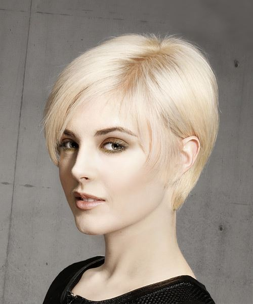 Short Straight Formal Pixie  Hairstyle with Side Swept Bangs  - Light Blonde - Side View