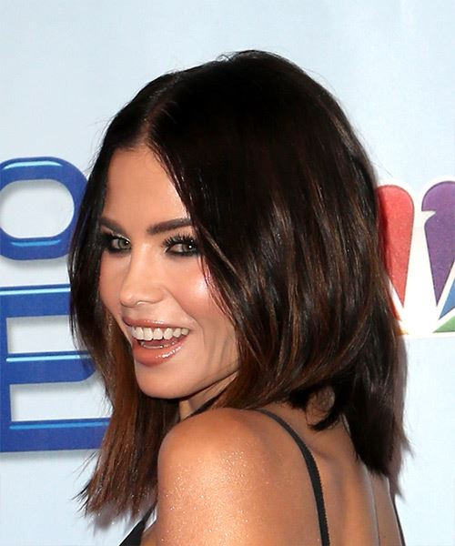 Jenna Dewan Medium Straight Casual Bob  Hairstyle   - Dark Brunette - Side View