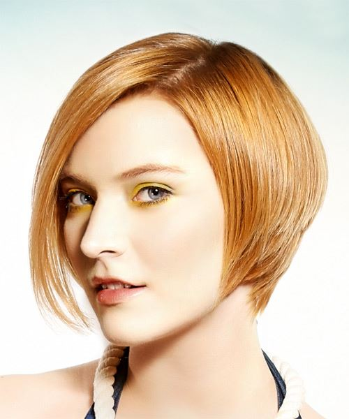 Short Straight Formal Bob Hairstyle - Light Red - Side View