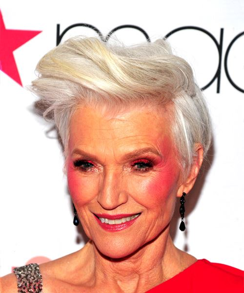 Maye Musk Short Straight Casual  Pixie  Hairstyle   - Light Grey Hair Color - Side View