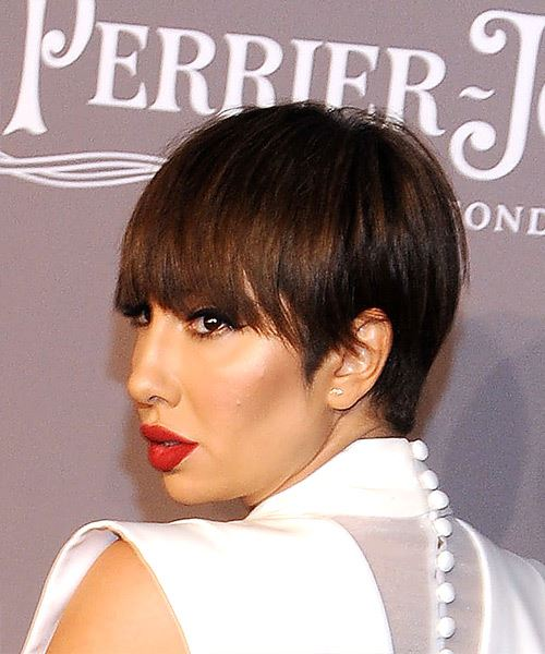 Jackie Cruz Short Straight Casual  Pixie  Hairstyle with Layered Bangs  - Medium Brunette Hair Color - Side View