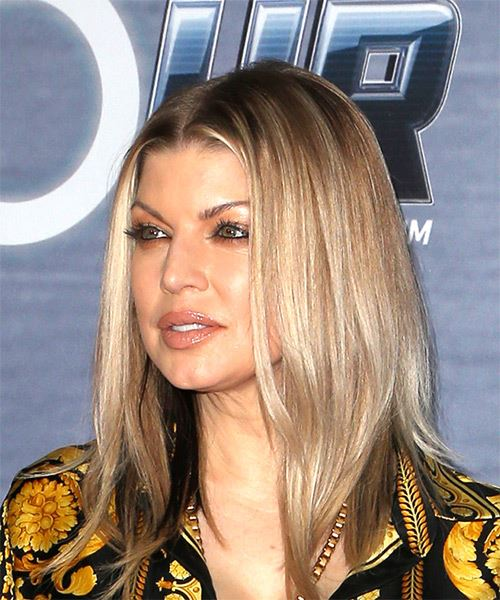 Fergie Medium Straight Casual   Hairstyle   - Medium Blonde - Side View