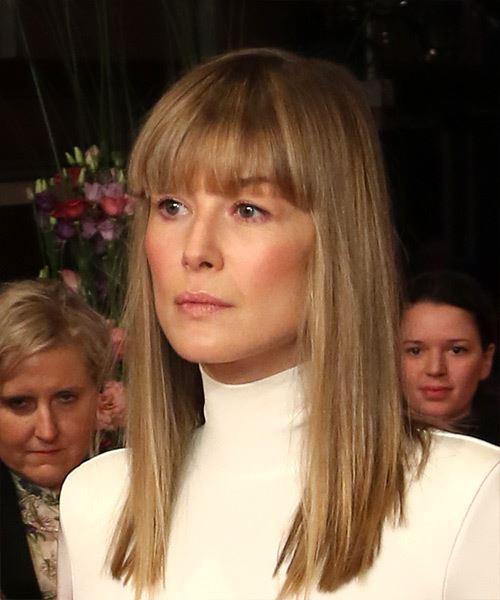 Rosamund Pike Medium Straight Casual Bob  Hairstyle with Blunt Cut Bangs  - Dark Blonde - Side View